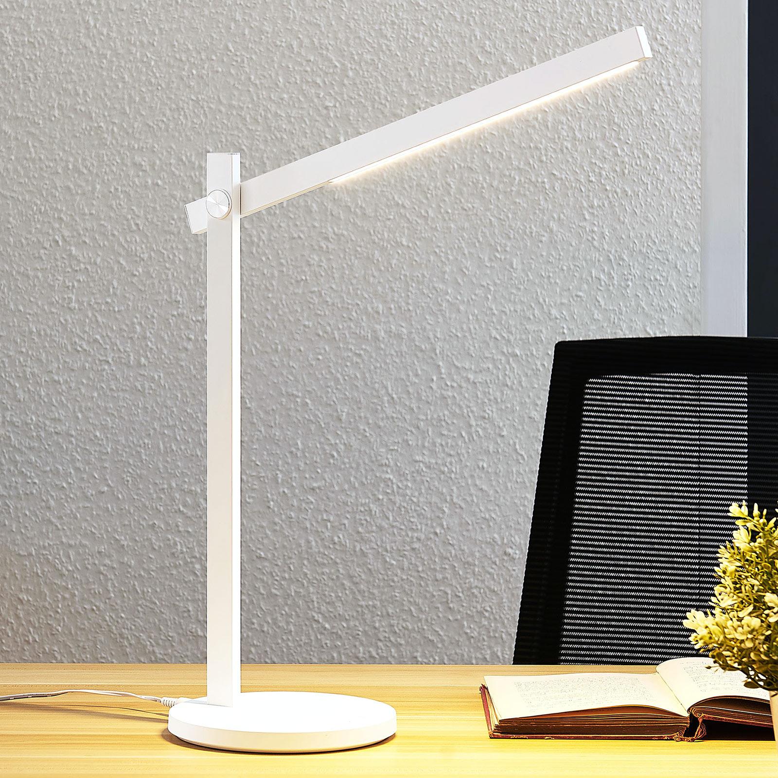 LED-työpöytälamppu Loretta, suoralinjainen, valk.