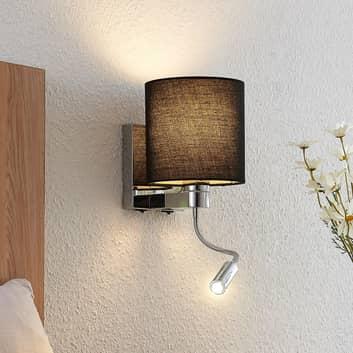 Lucande vägglampa Brinja med LED-flexarm svart