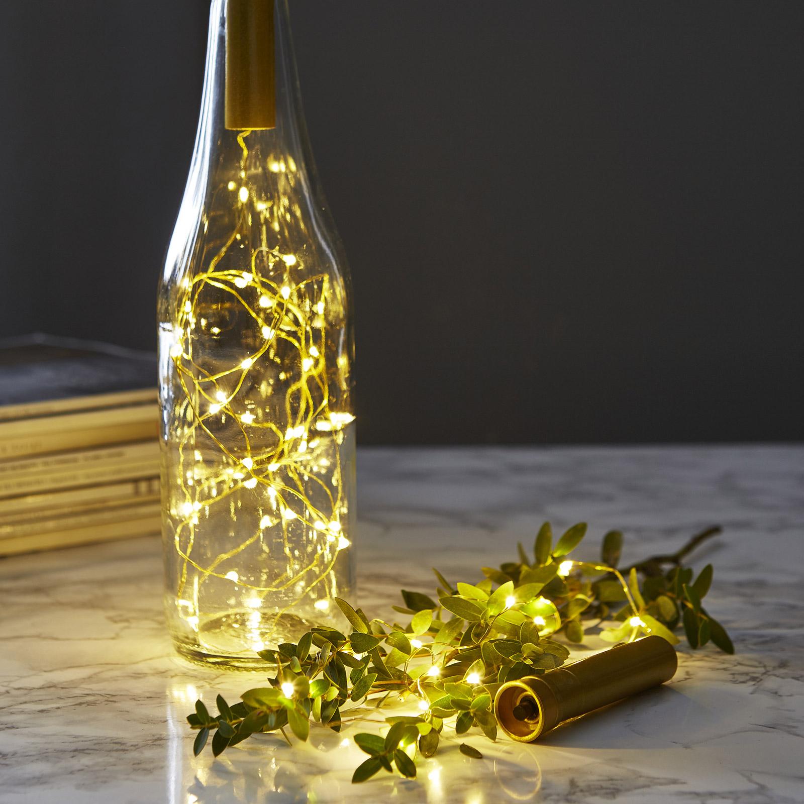 Lyslenke til flasker Dew Drops 75cm, messing
