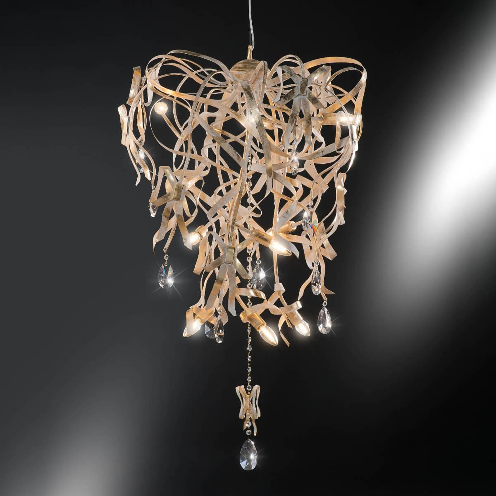 Lampa wisząca Greta ze złotą patyną, 9-punktowa