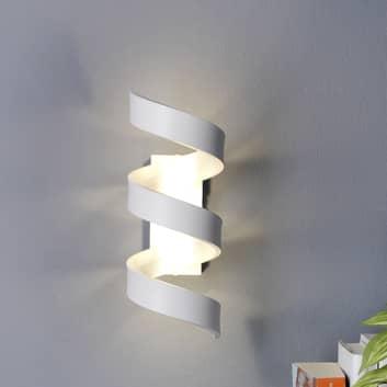 LED-vegglampe Helix, hvit-sølv, høyde 26 cm
