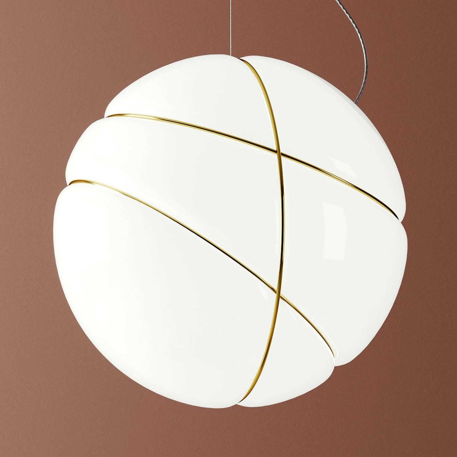 Fabbian Armilla glazen hanglamp wit, goud