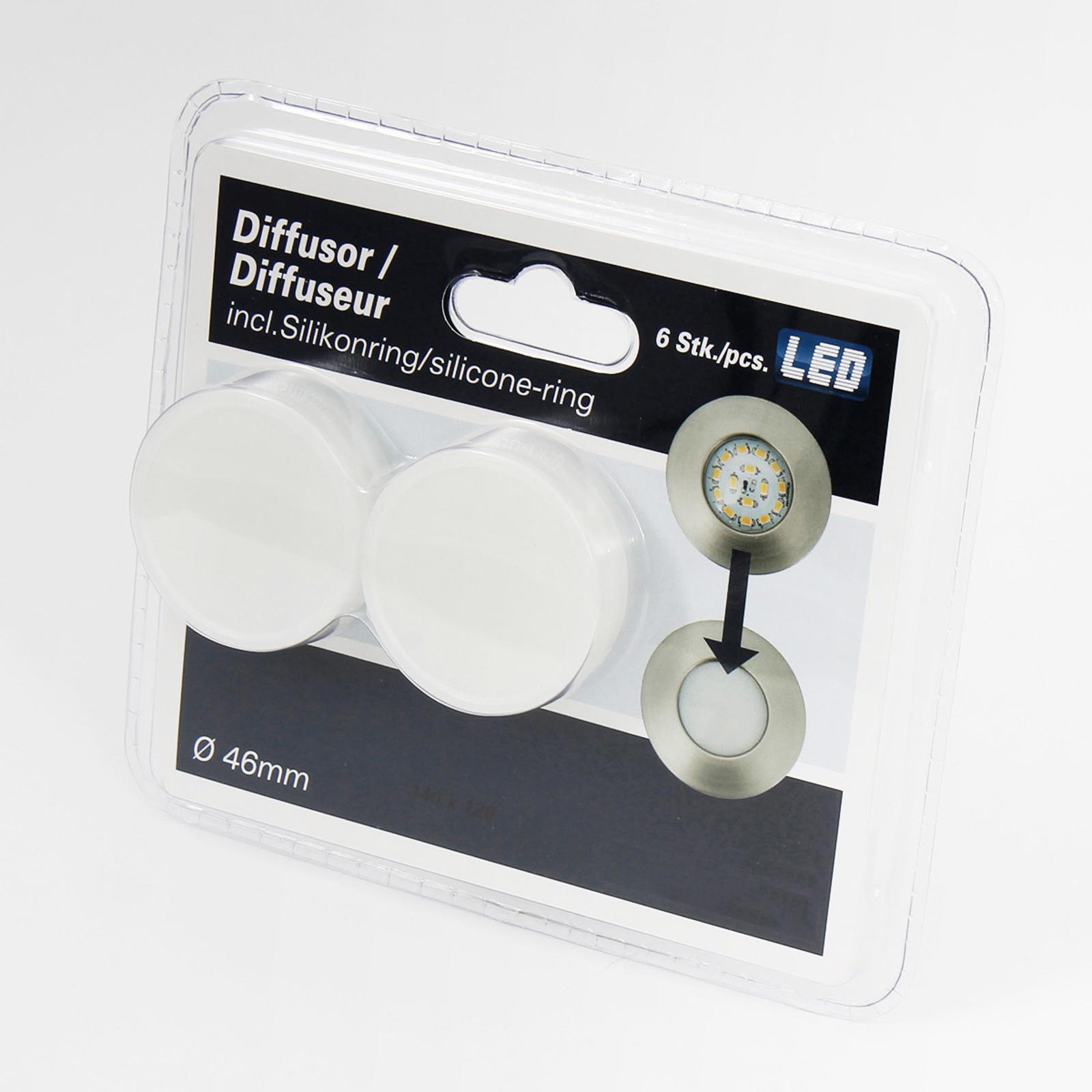 Diffusoropzet voor inbouwlampen - 6 per set