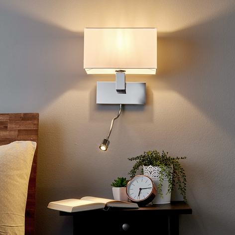 Væglampen Tamara med stofskærm og LED-fleksarm
