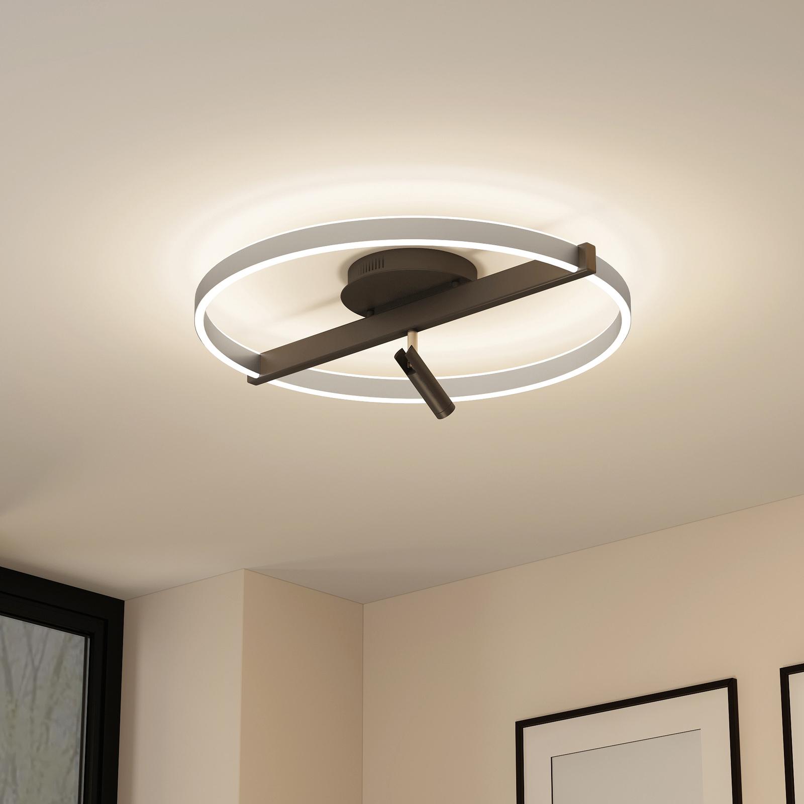 Lucande Matwei LED-taklampe ringformet, nikkel
