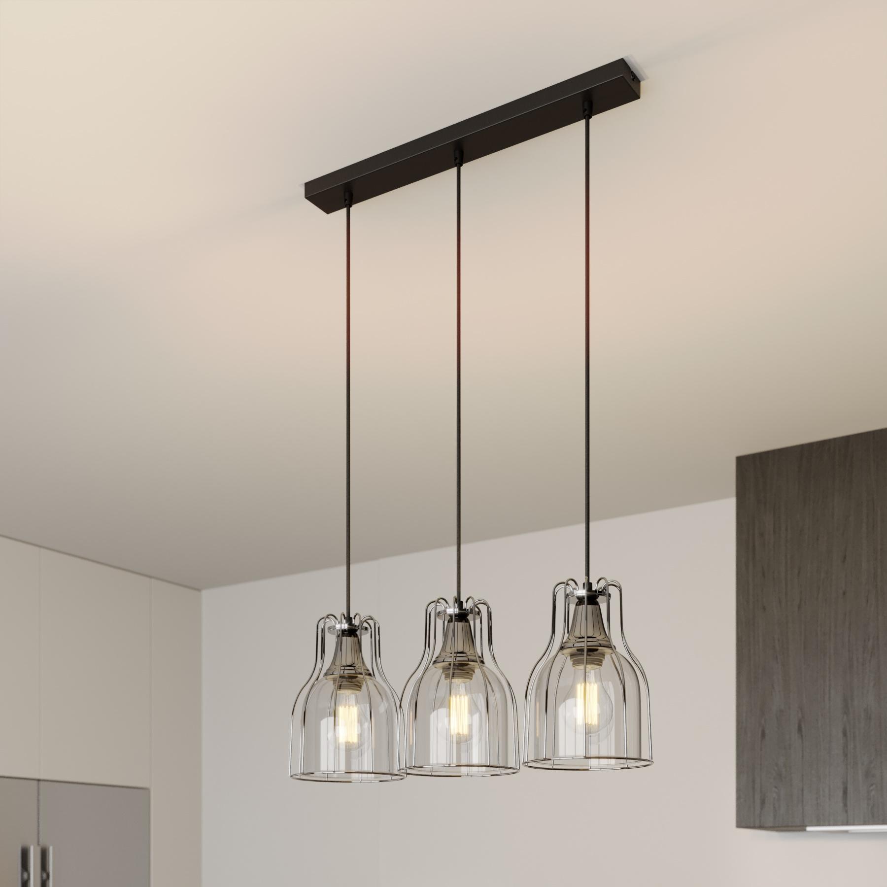 Suspension Aria 3 lampes transparente/noire/chromé