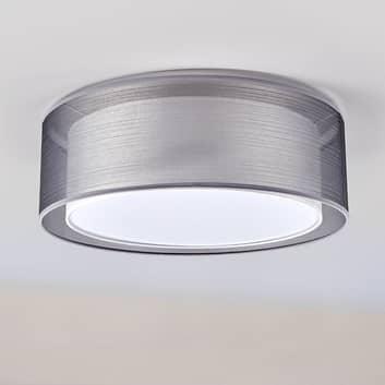 Loftslampen Nica med dobbelt stofskærm, grå