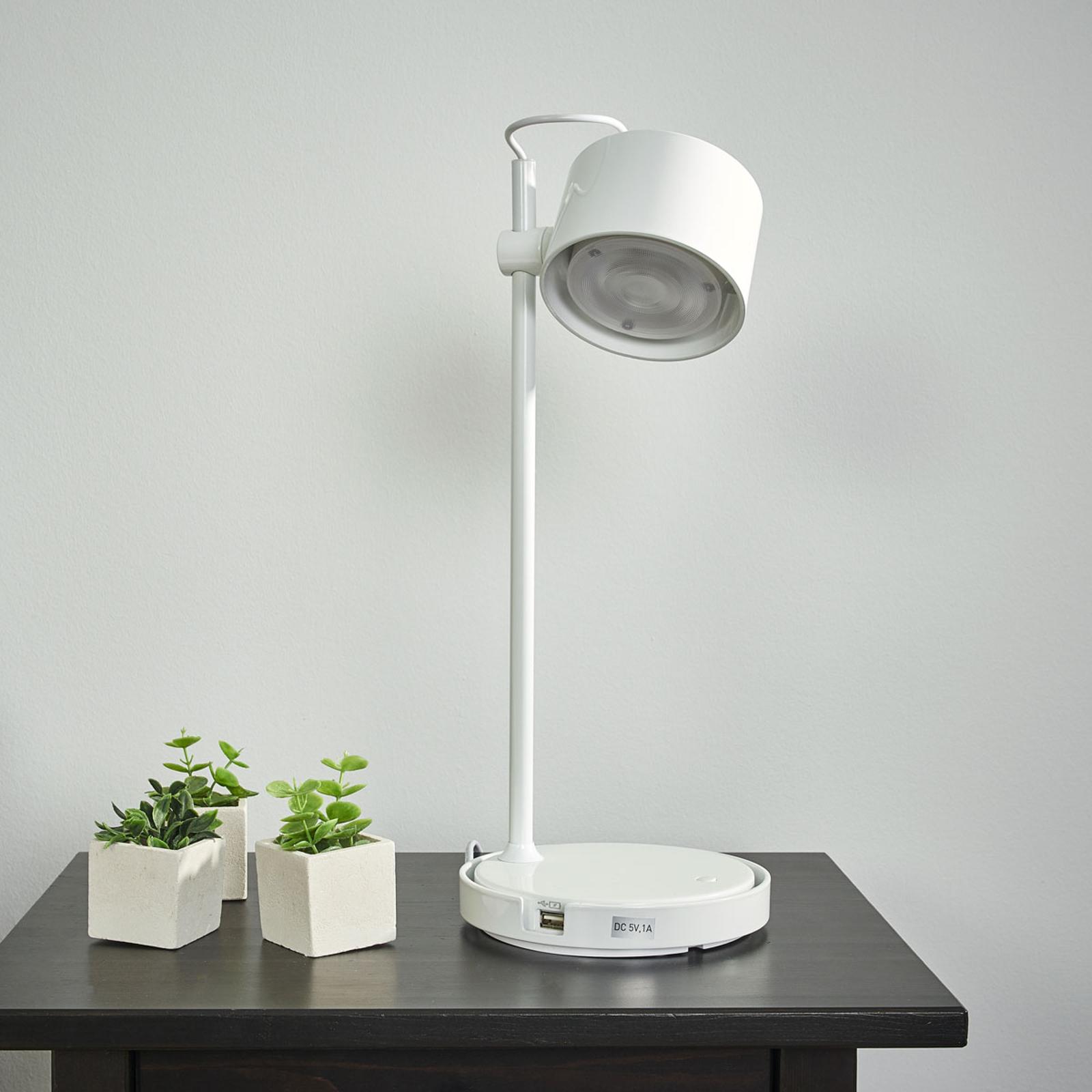Glänzend weiße LED-iDual-Tischleuchte Jasmine