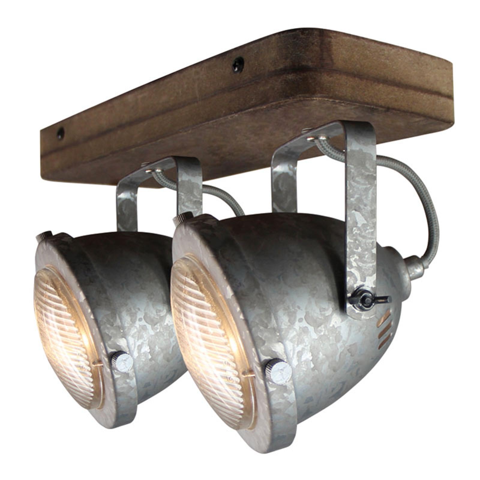 Plafondlamp Woody, gegalvaniseerd, met 2 lampjes