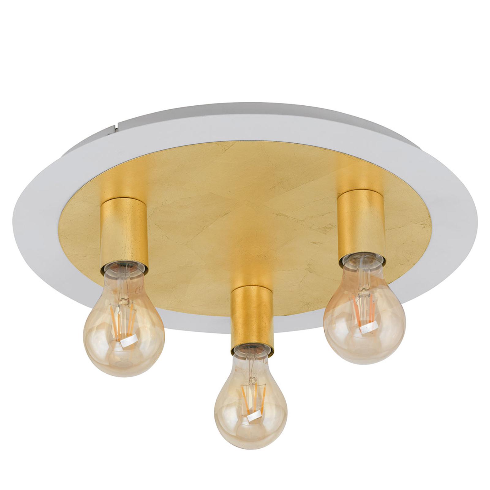 LED-Deckenleuchte Passano 3fl. gold