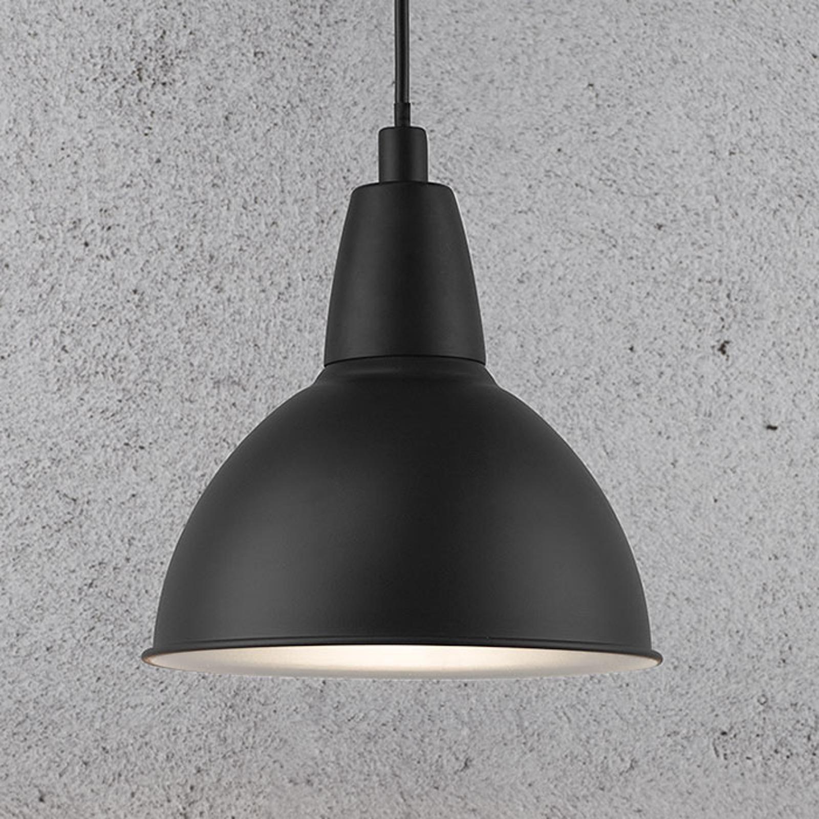 Lampa wisząca Trude z metalowym kloszem, czarna