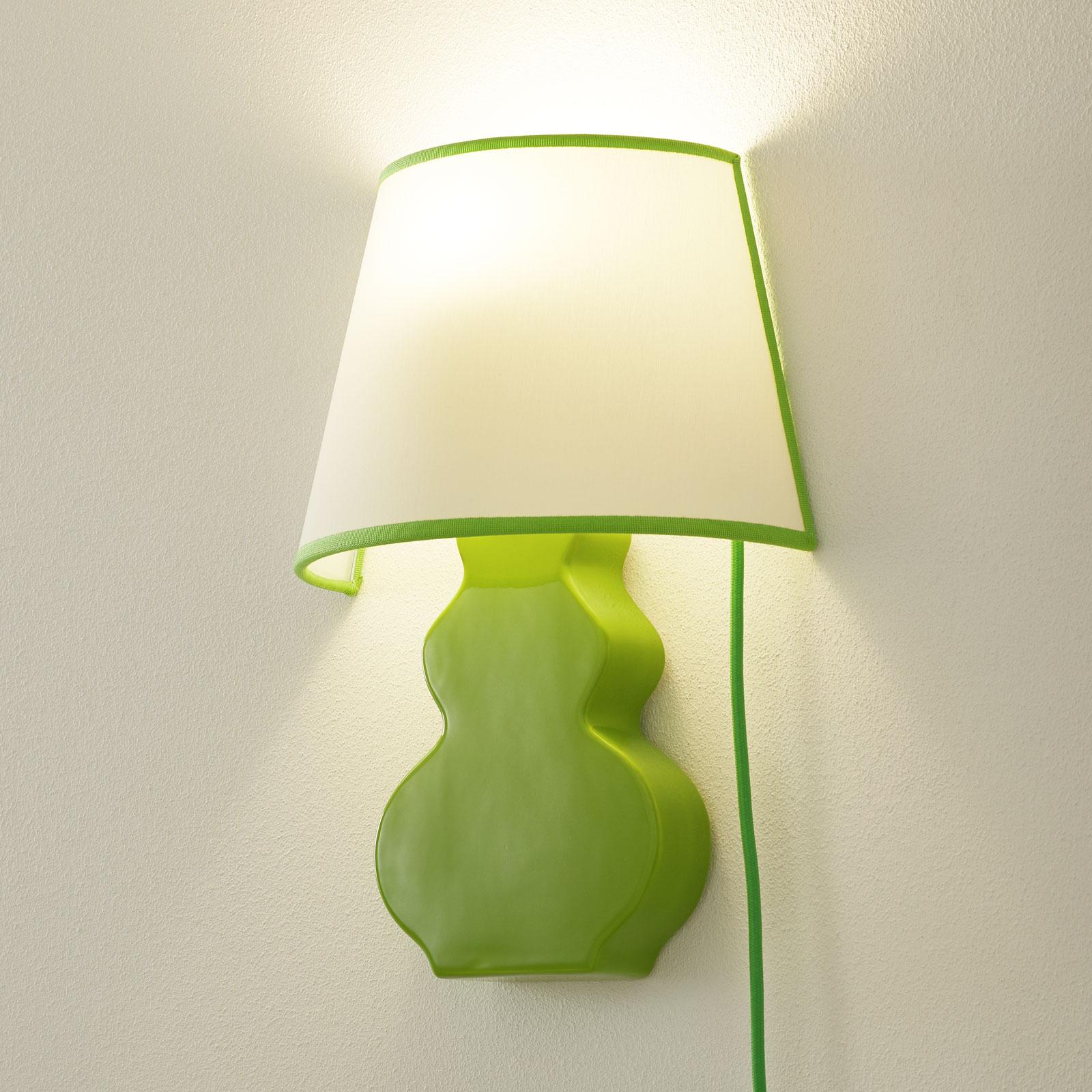 Keramik-Wandleuchte A187 mit Stoffschirm, grün