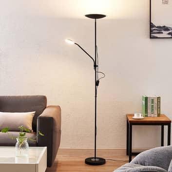 Lindby Heliani LED-gulvlampe, 2 lyskilder, svart