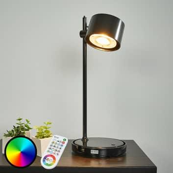 Svart LED-iDual-bordlampe Jasmine m. fjernkontroll