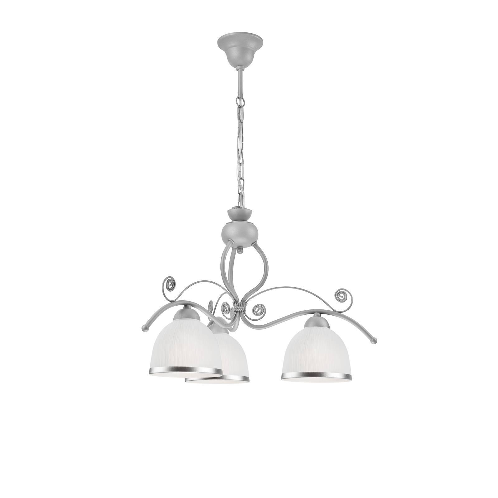 Suspension Roma en blanc et argenté, à 3 lampes