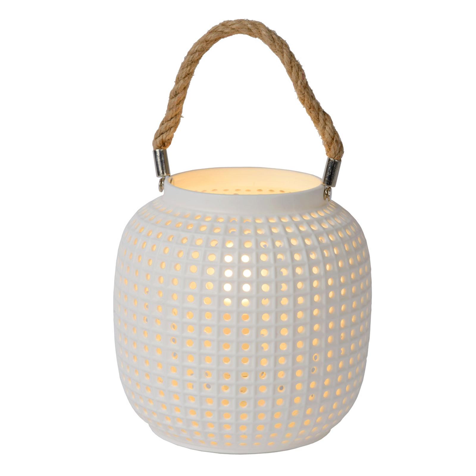 Tafellamp Safiya van porselein, wit