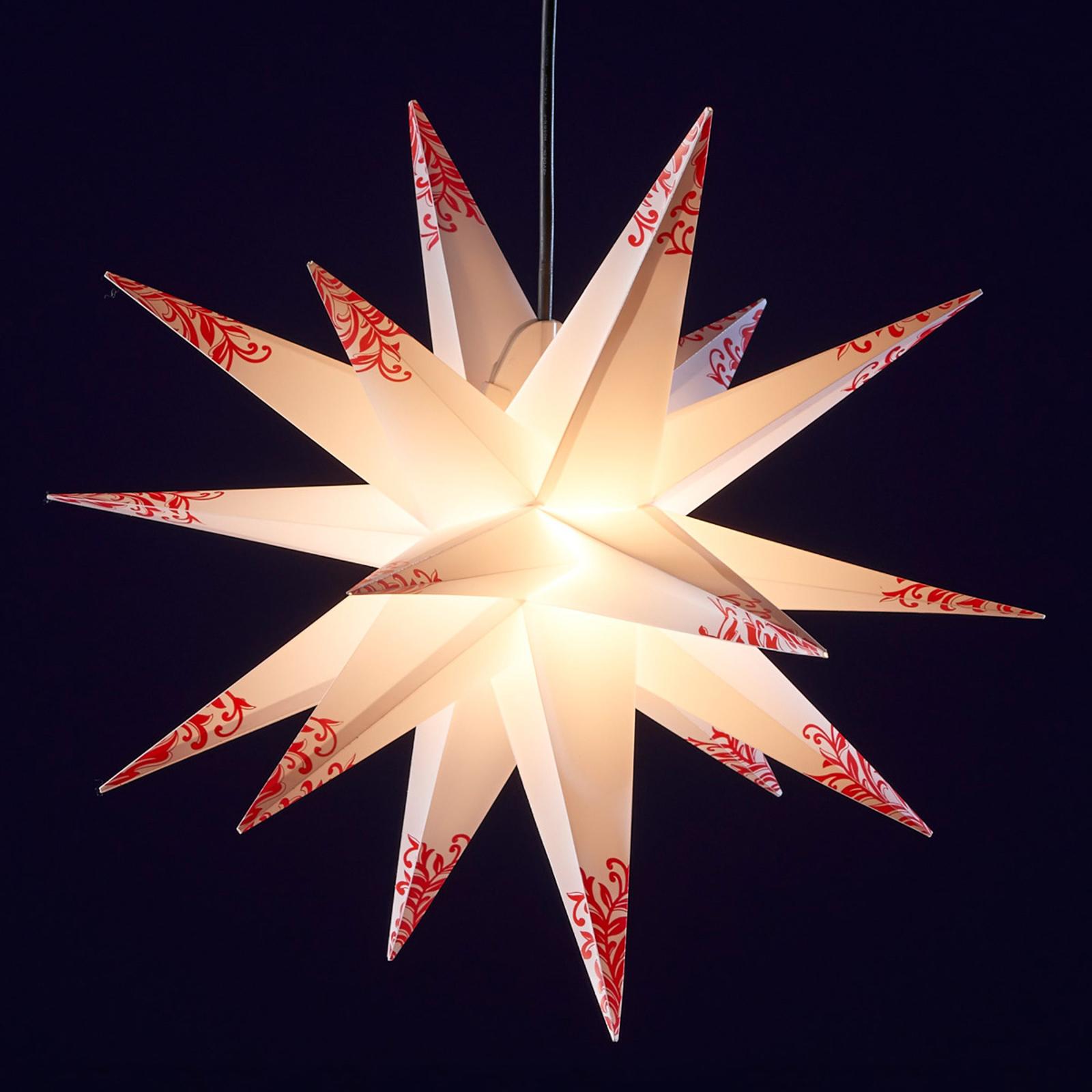 Ornamentstern für außen - 18-zackig weiß-rot