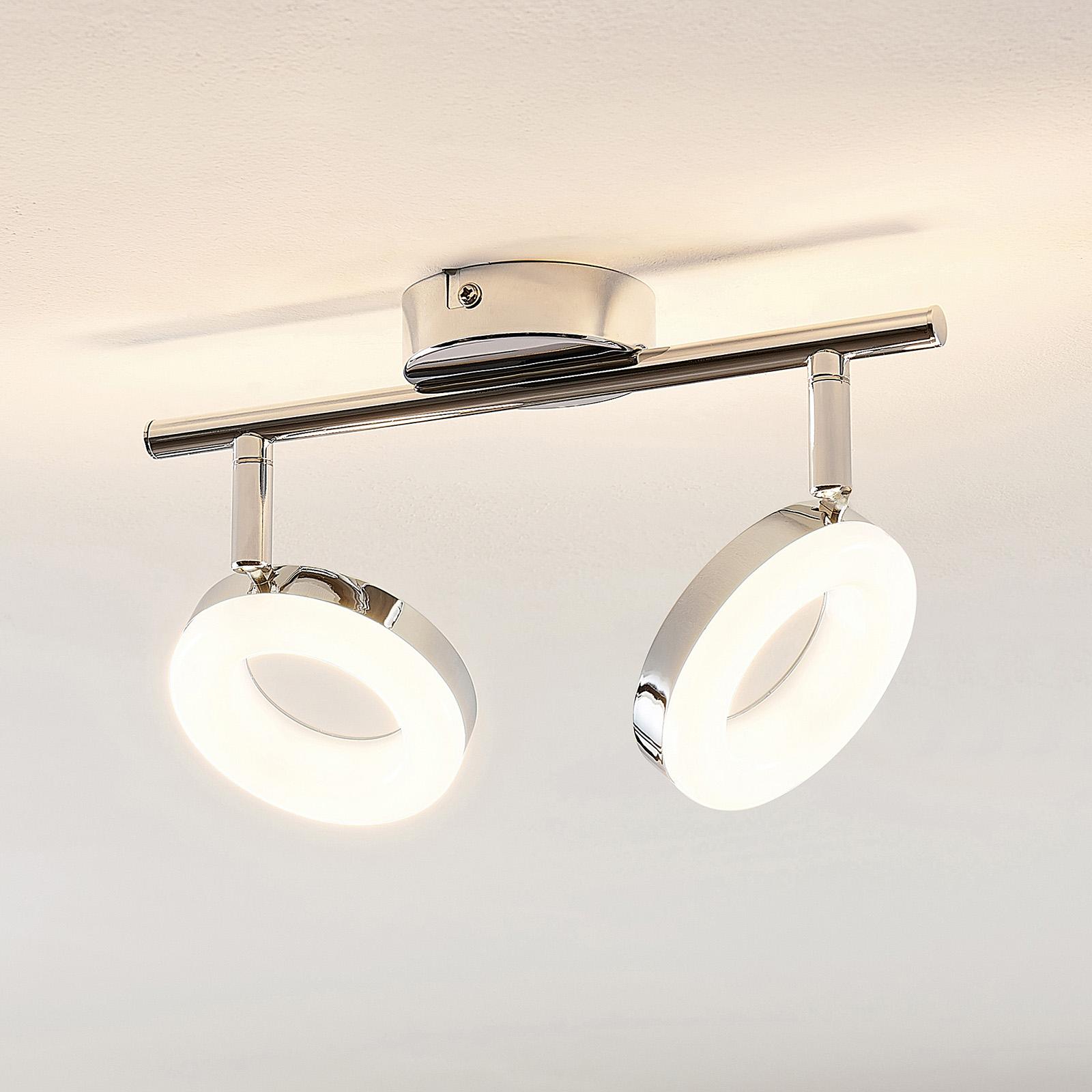 ELC Tioklia LED-taklampa, krom, 2 lampor