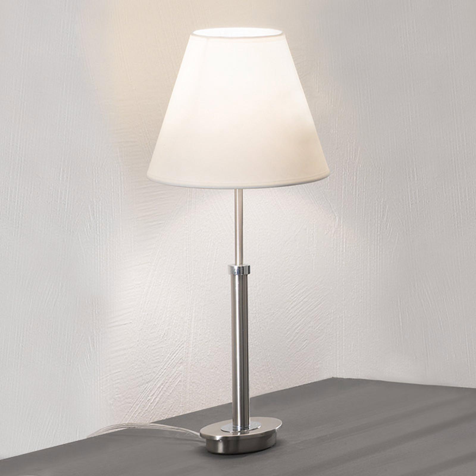 Niklowa lampa stołowa Lilly z materiału, 22