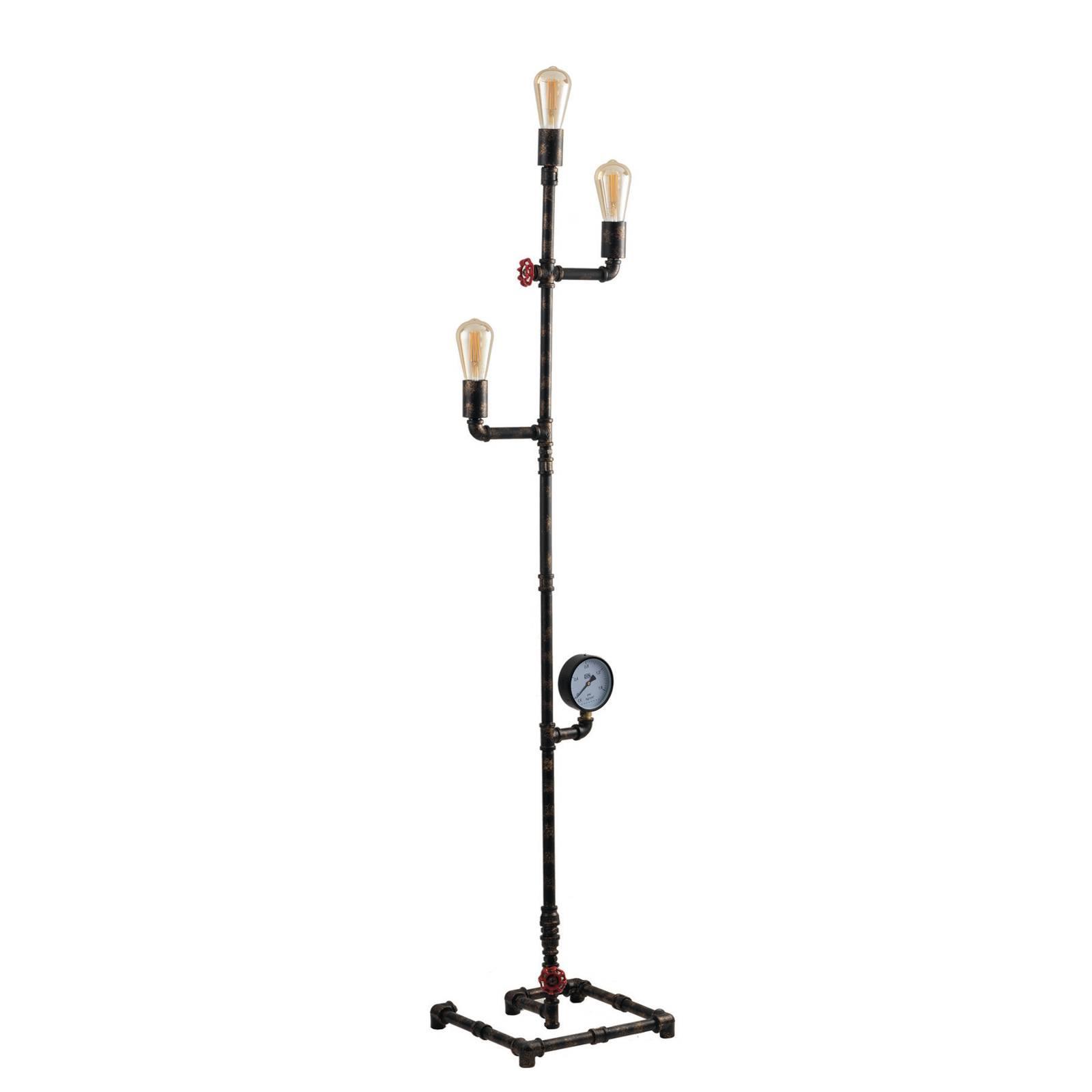 Vloerlamp Amarcord, roestbruin, 3-lamps