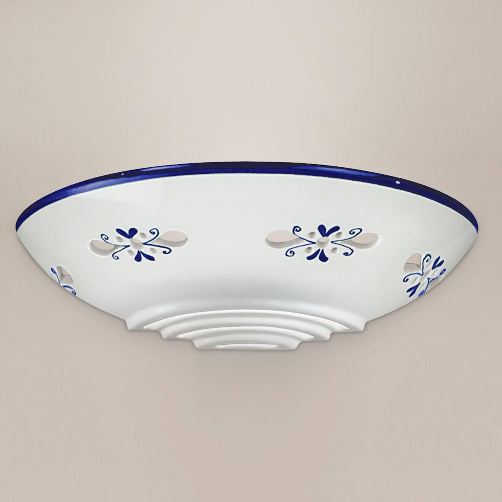Bassano - mooie keramiek wandlamp, blauw