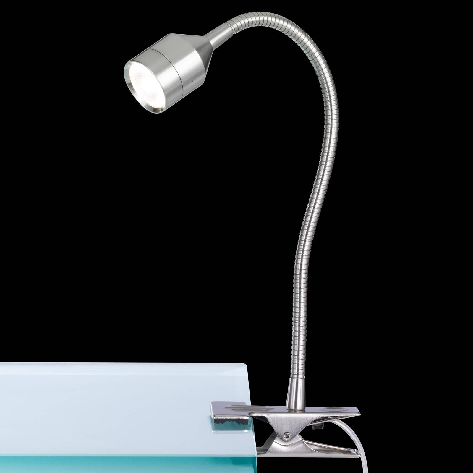 LED klemlamp Lovi met snoerschakelaar, nikkel