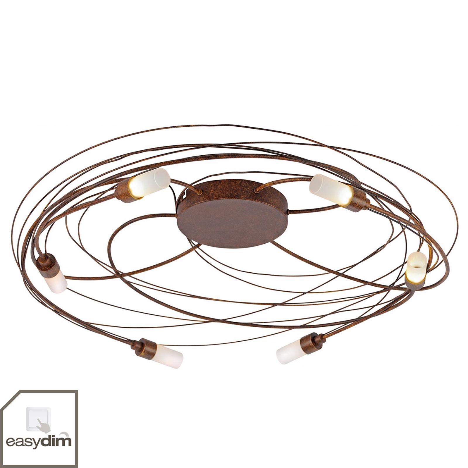 Plafondlamp Nelia met LED 6-lamps Ø 60 cm roest
