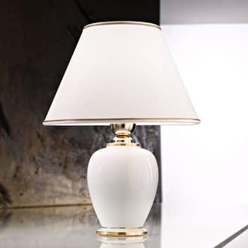 Tischleuchte Giardino Avorio in Weiß-Gold, Ø 25 cm