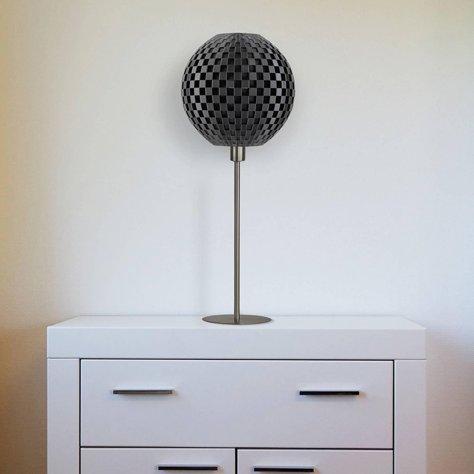 Tafellamp vlechtwerk bol, zwart