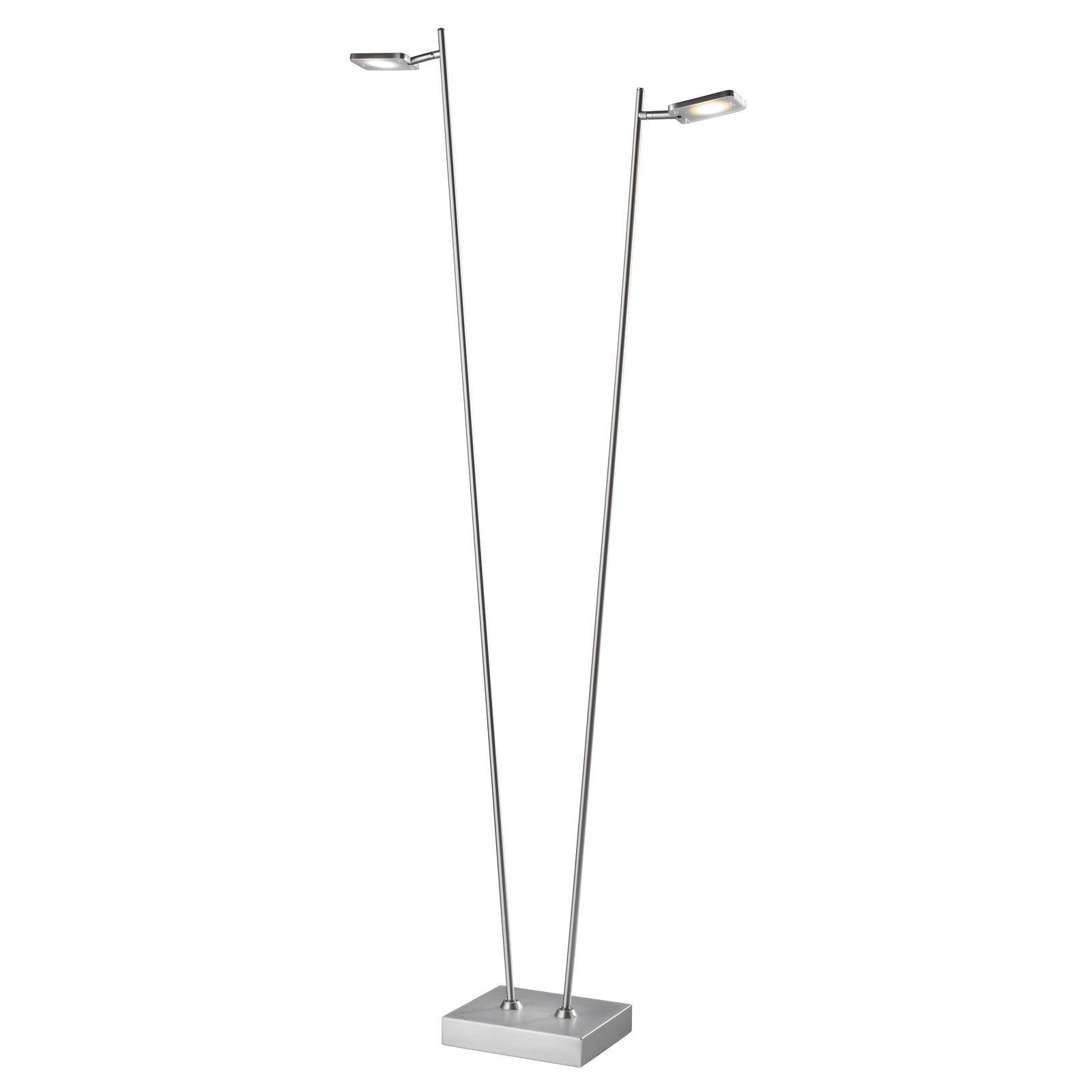 Lampada da terra LED Quad, dimmer 2 luci alluminio