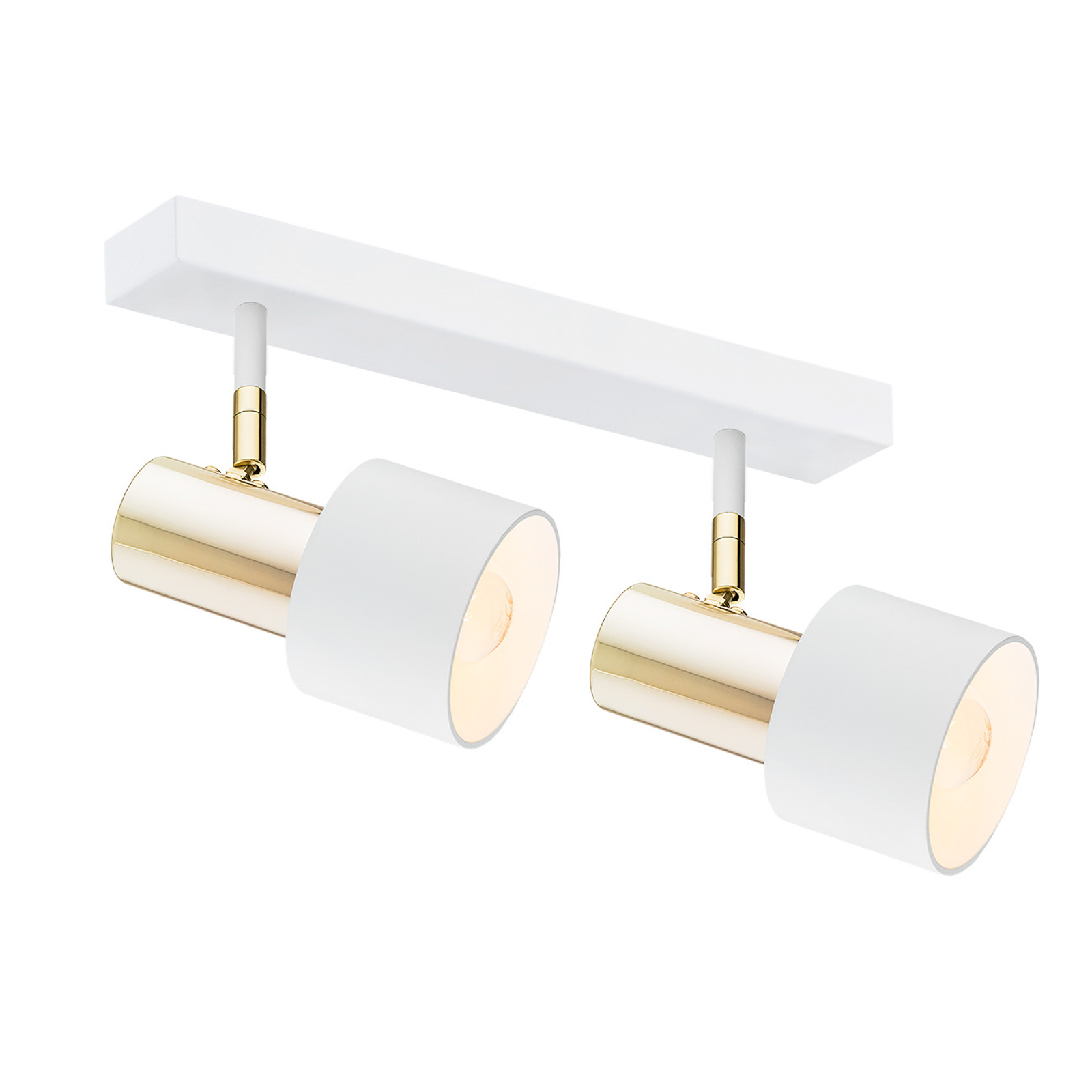 Destin loftspot, 2 lyskilder, hvidt/messing