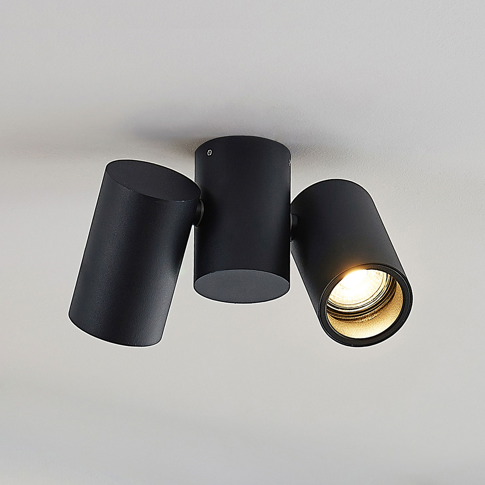Plafonnier Gesina, 2lampes, noir