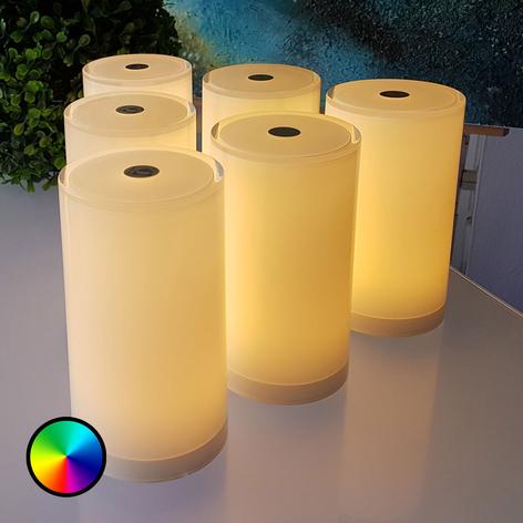 Lámpara de mesa Tub, set 6, controlable app, RGBW