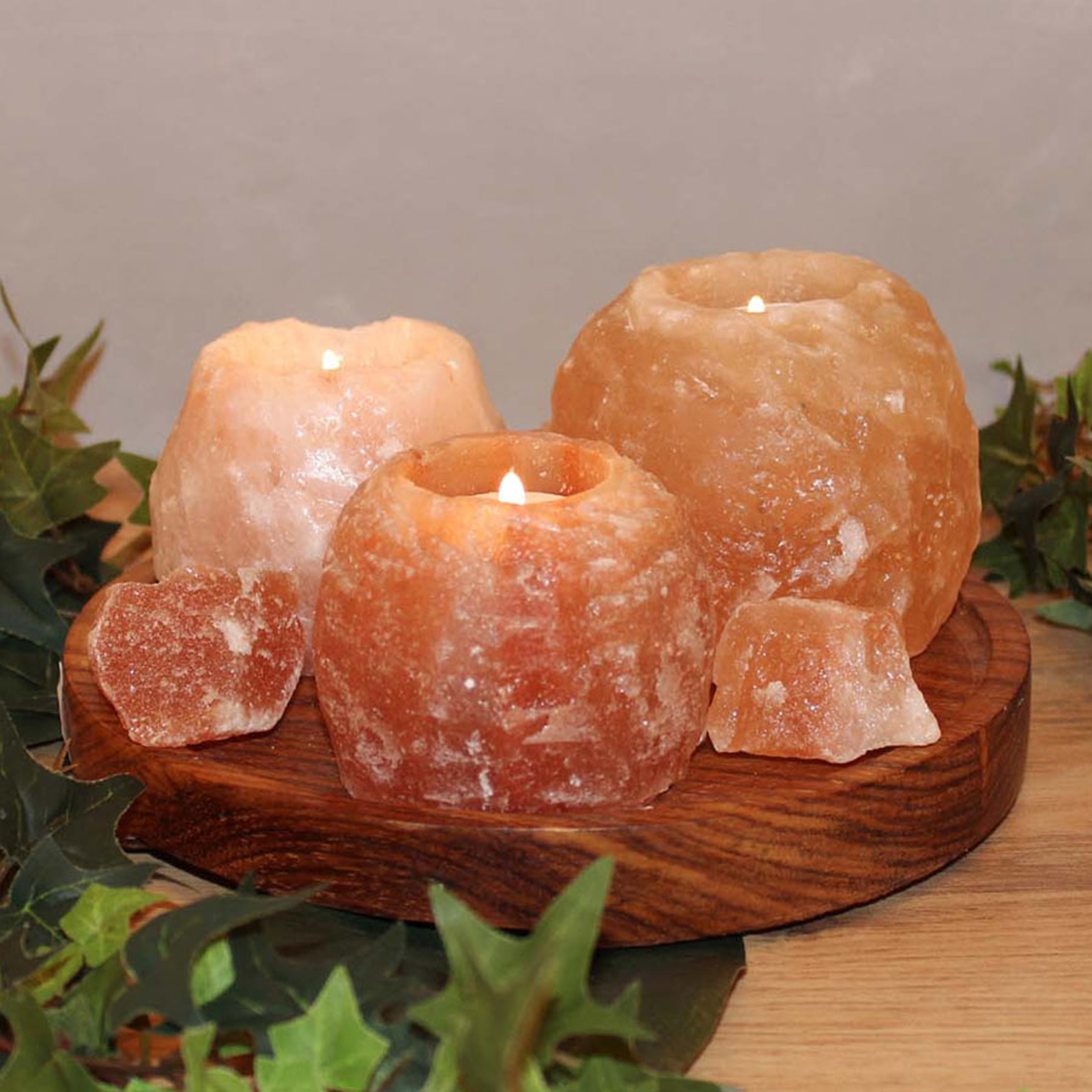 Theelichthouder-set Rock van zoutkristal