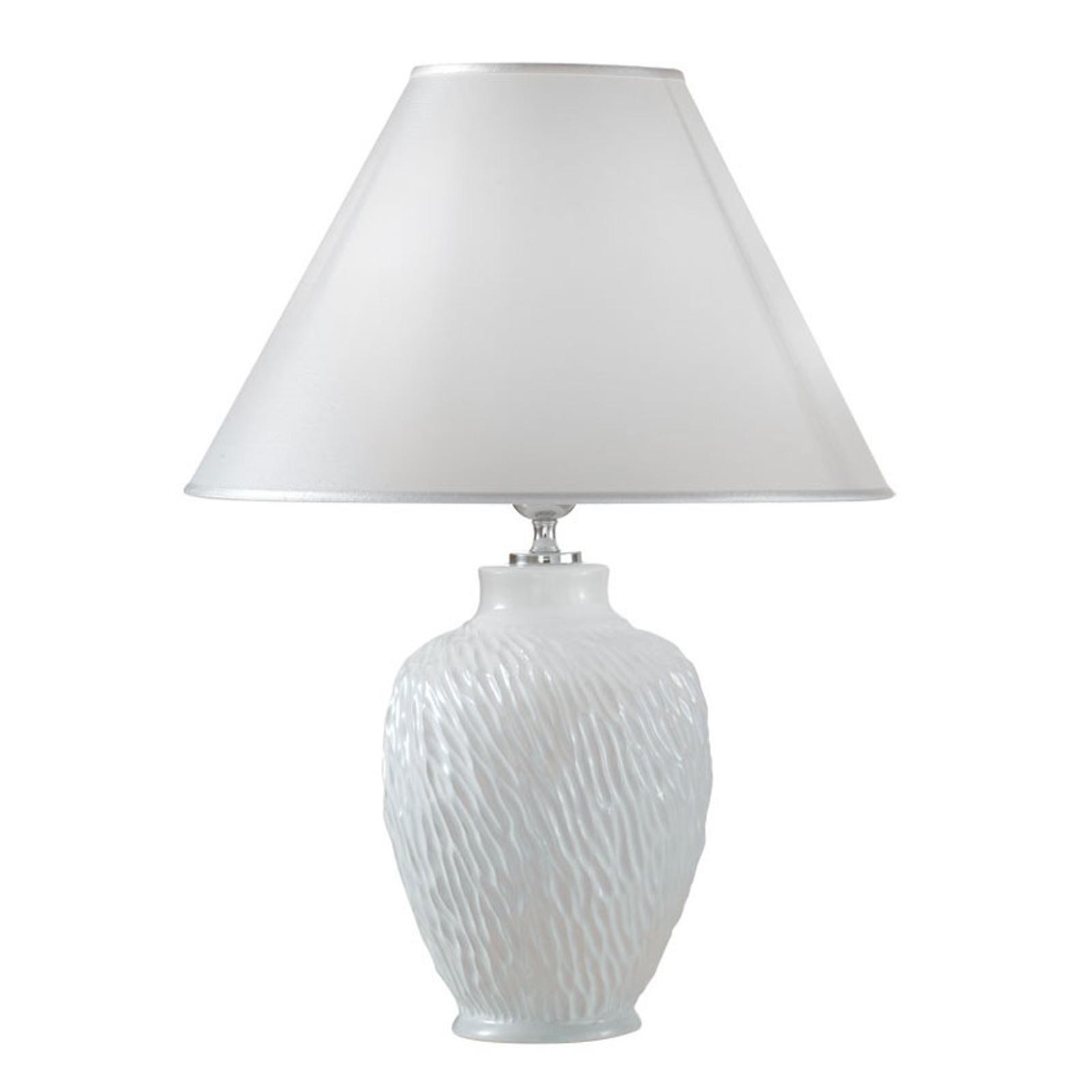Lampa stołowa Chiara z ceramiki, biała, Ø 30 cm