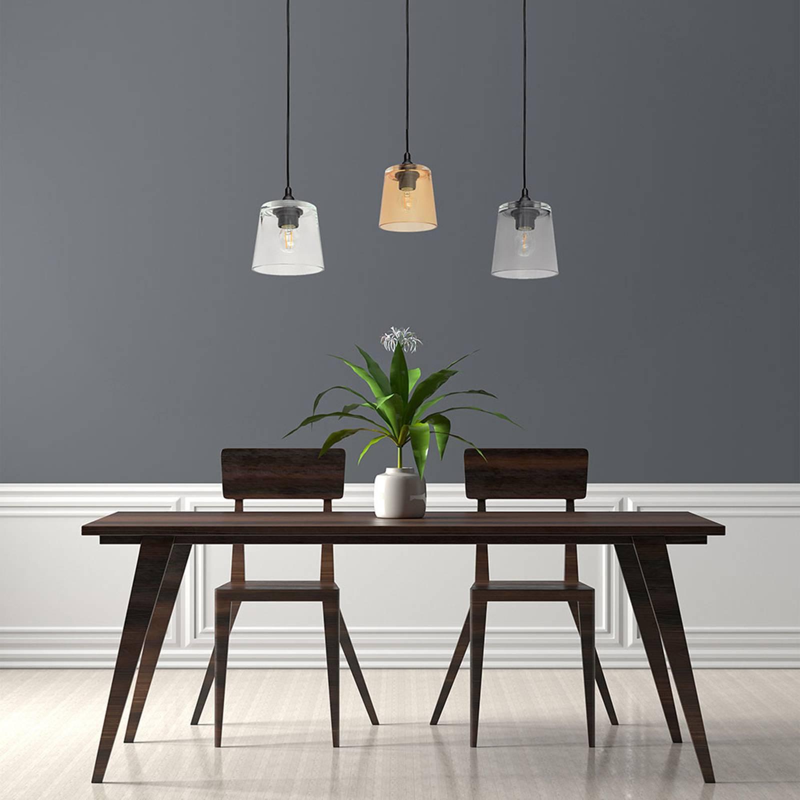 Suspension Lucea 3 lampes transparente/smoke/ambre