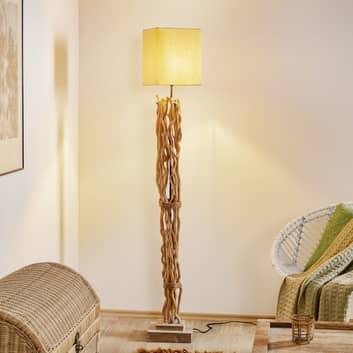 Lampadaire Marica abat-jour tissu et élément bois