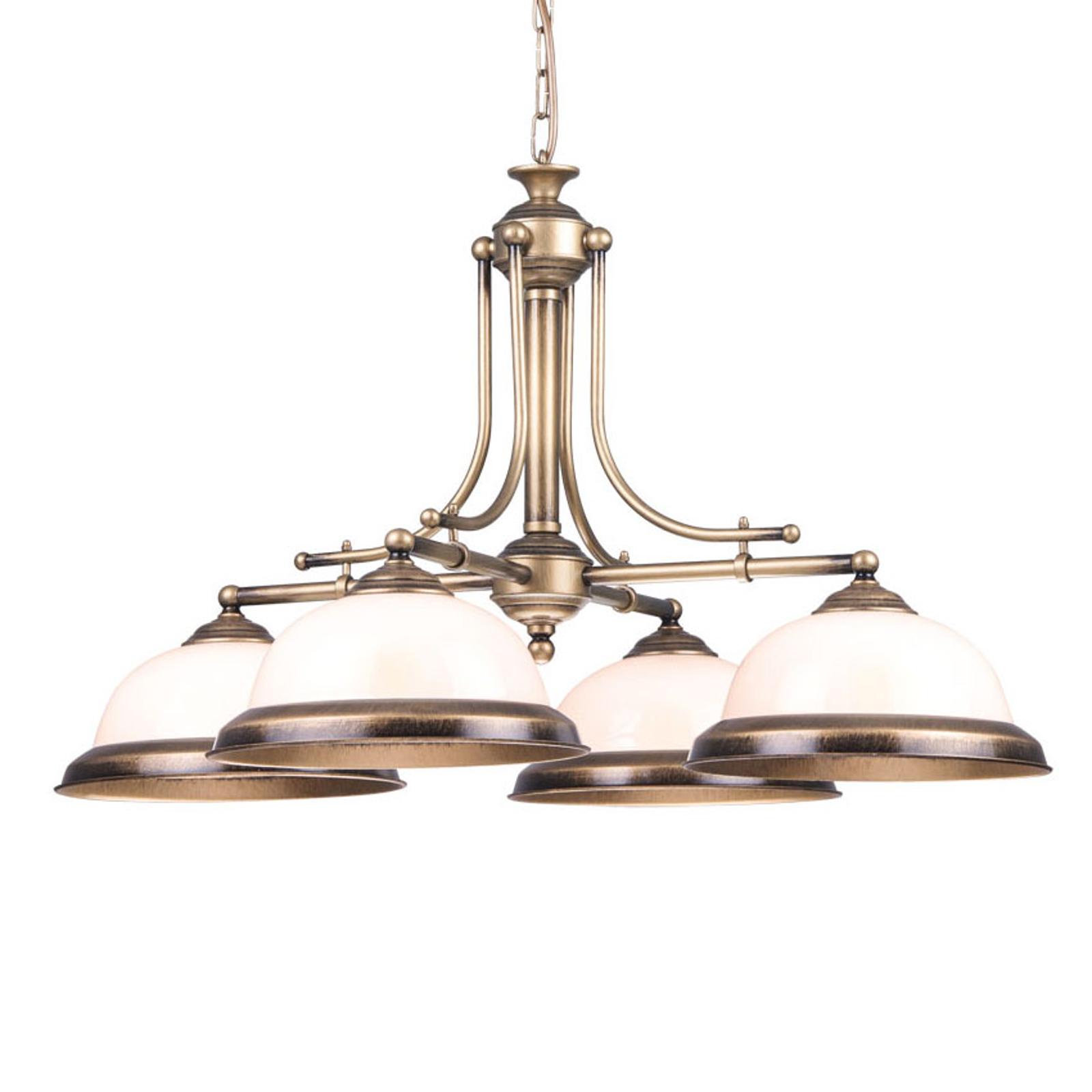 Lampa wisząca Torio, ręcznie kolorowana 4-punktowa