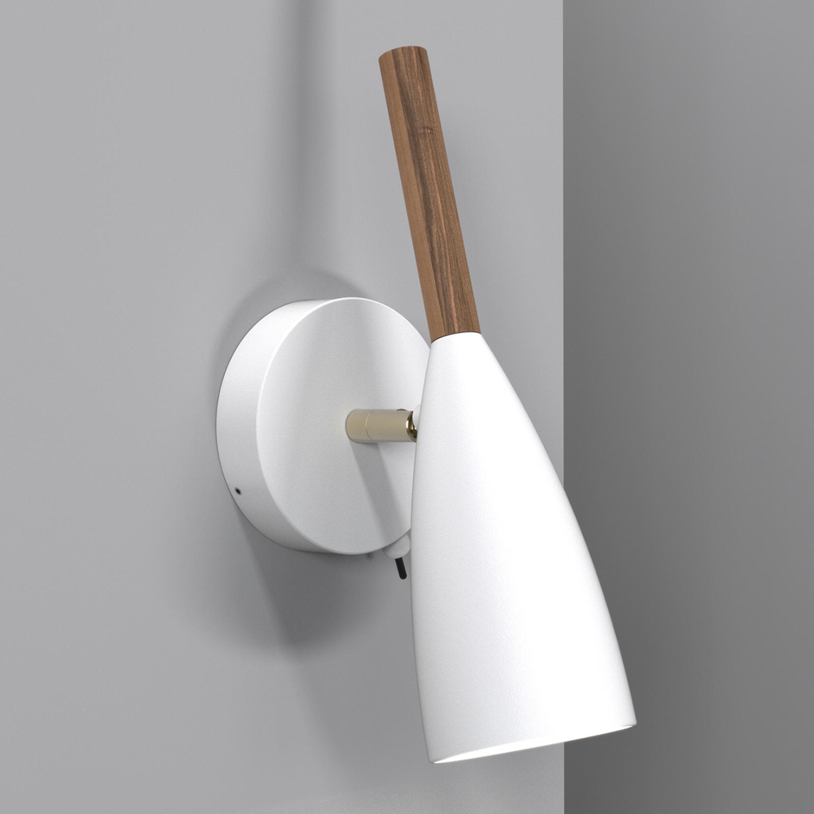 lampada da parete Pure, bianca, in legno