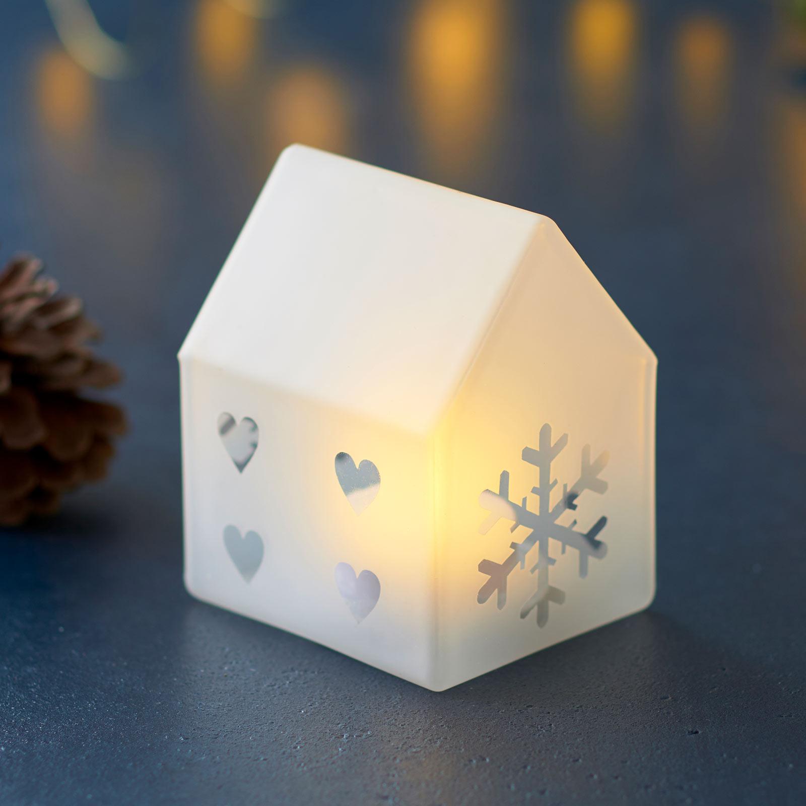 Lampada decorativa LED Santa House, alta 8,5 cm