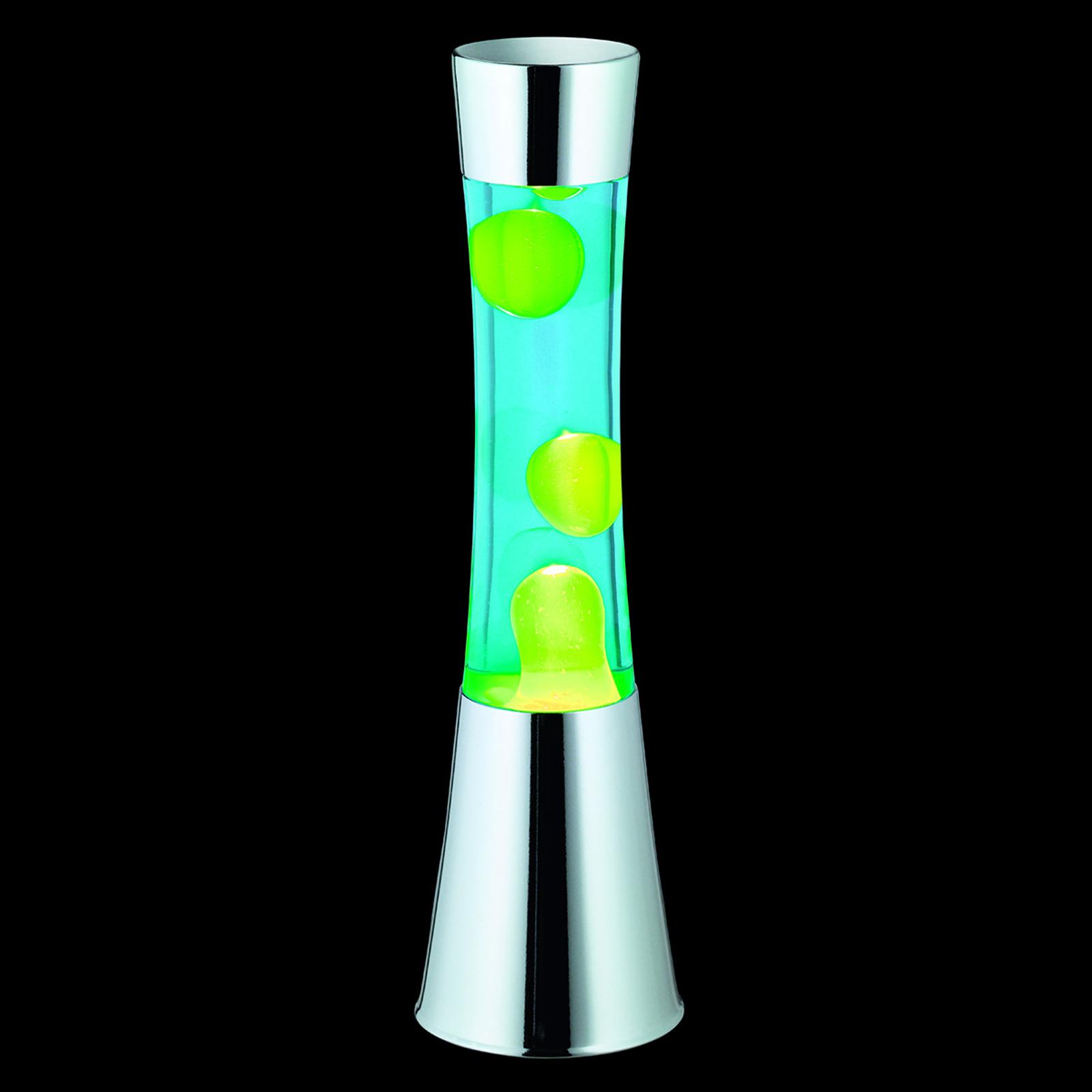 Lampada Jarva cromata con lava verde