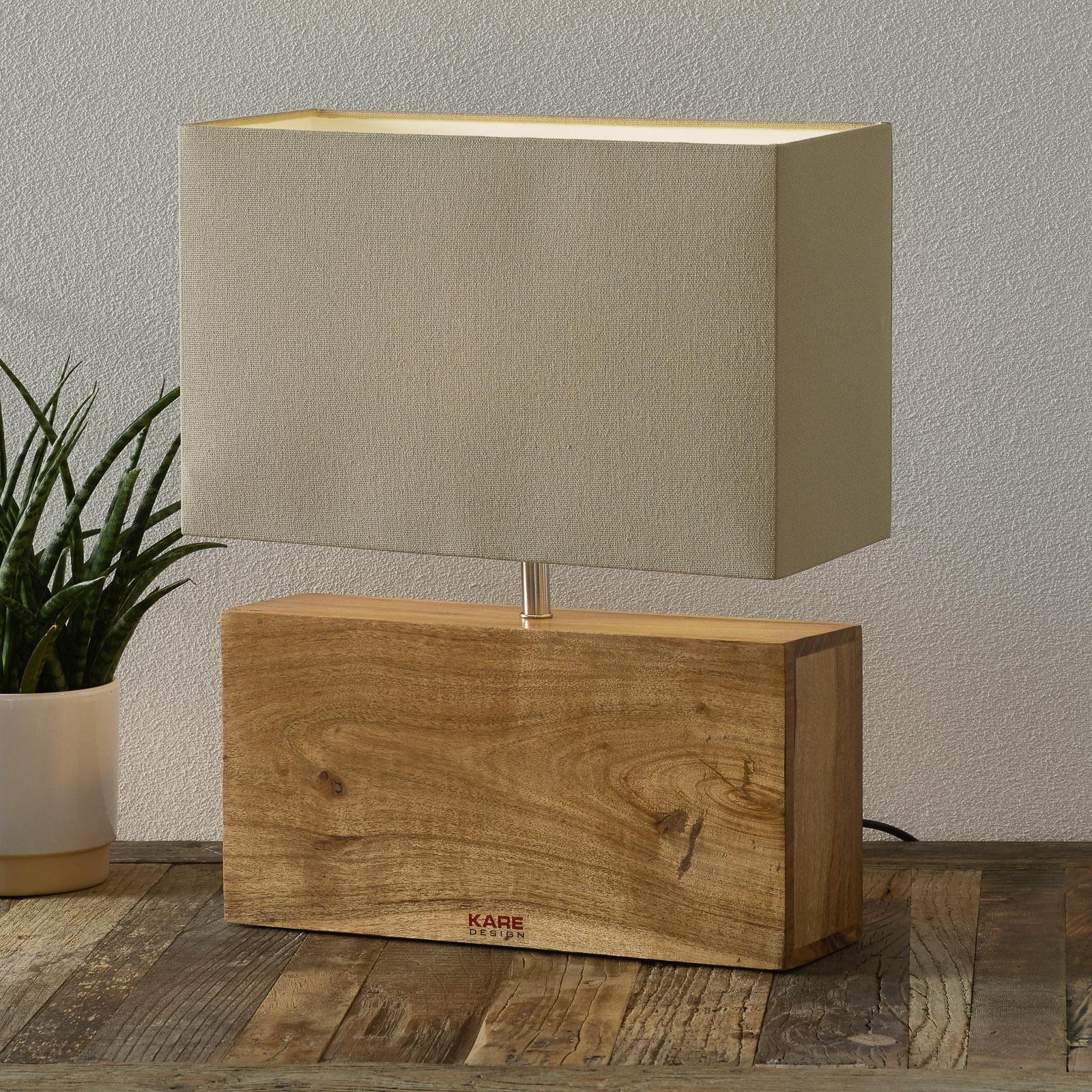 KARE Rectangular Wood - tafellamp met houten voet
