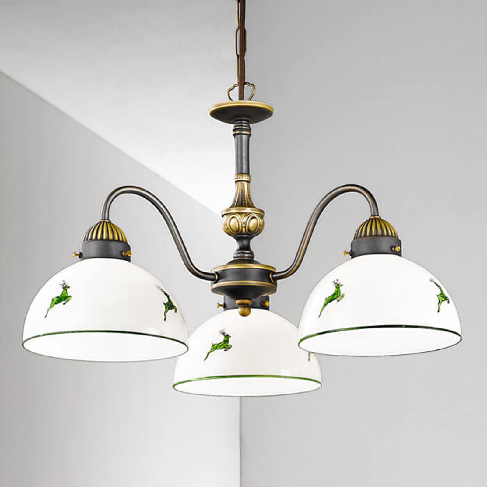 Trzypunktowa lampa wisząca Nonna biało-zielona