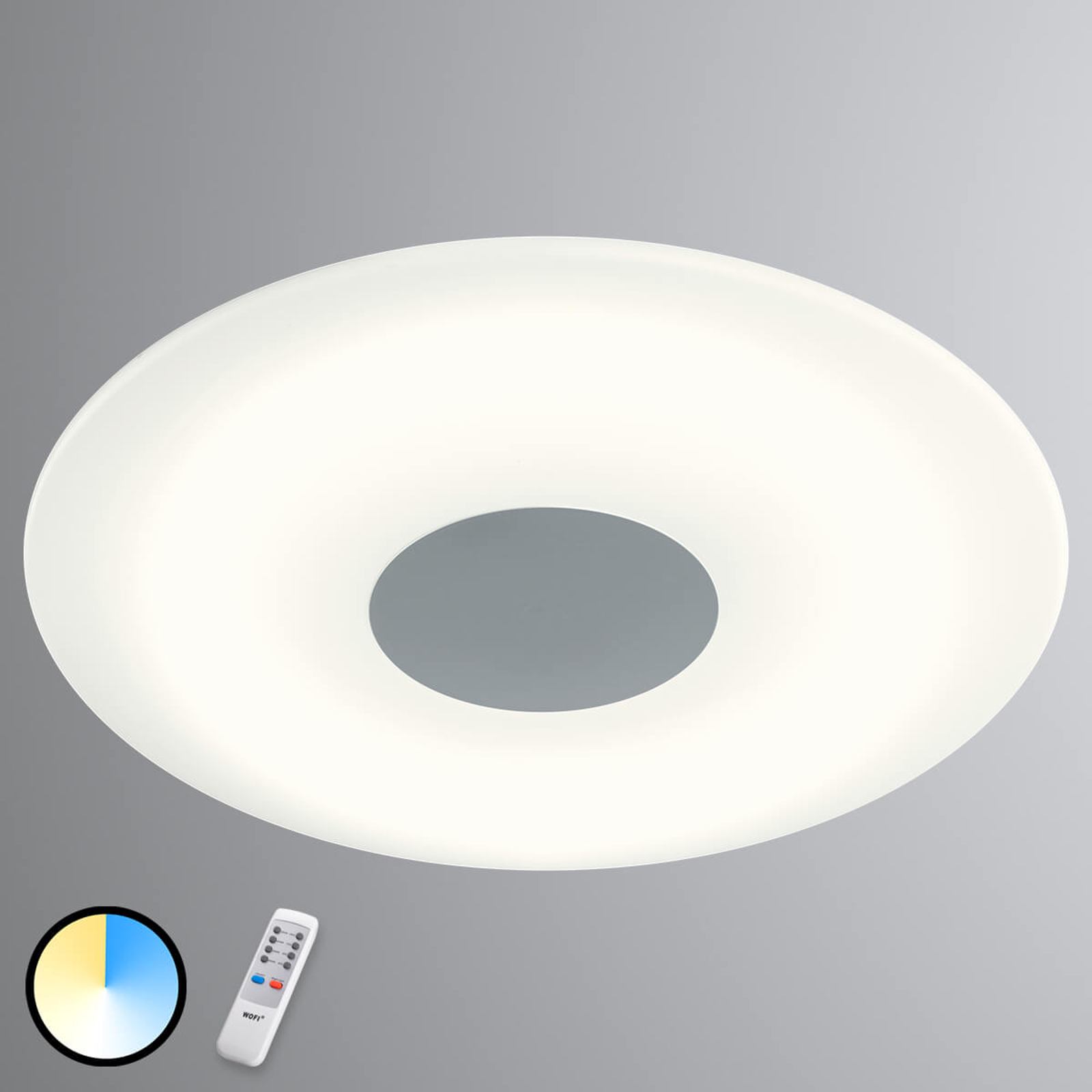 Kara - lampa sufitowa LED, różne barwy światła