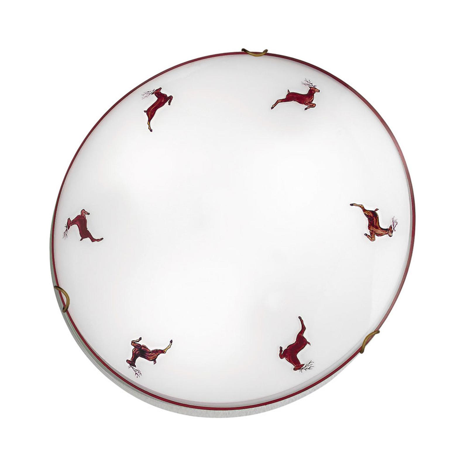 Plafondlamp Nonna hert, wit-rood, Ø 40 cm