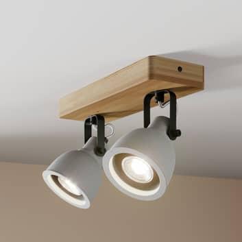 Lindby Mirka plafonnier LED, bois de pin, 2 lampes