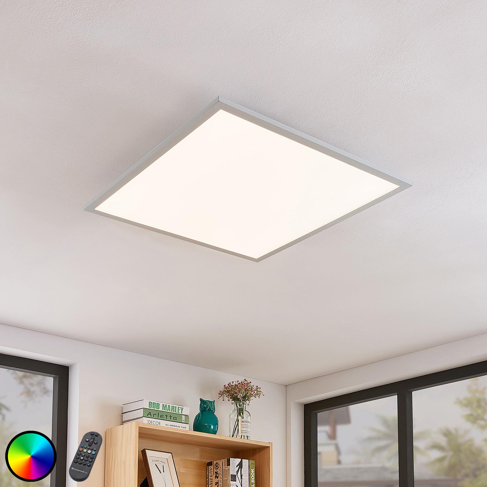 Lámpara LED de techo Milian con mando 62x62 cm