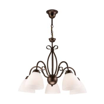 Lámpara colgante Adoro, 5 luces, marrón