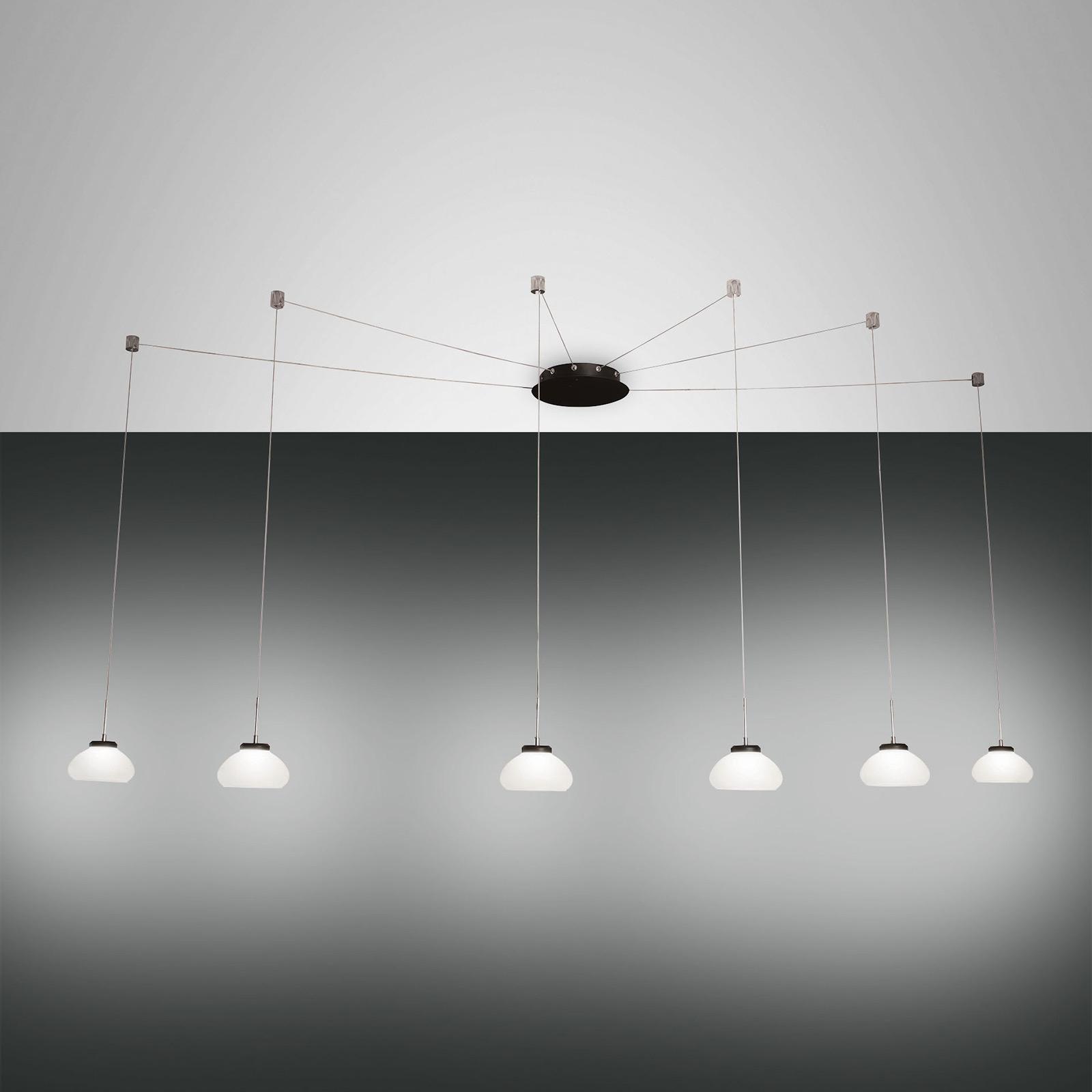 Suspension Arabella décentrée 6 lampes, blanche