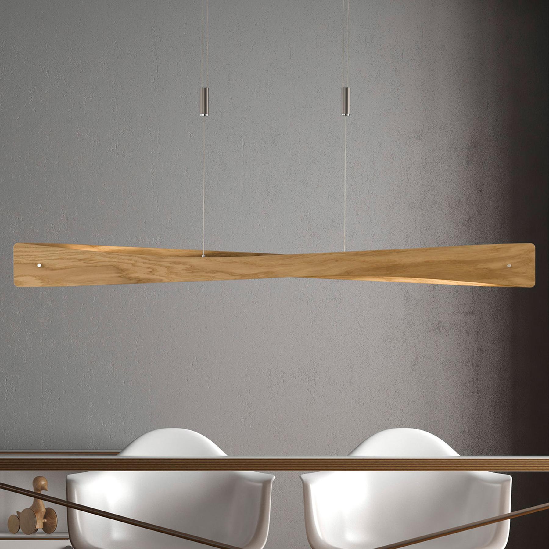 Lucande Lian lampa wisząca LED, drewno dębowe